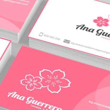 Diseño Logo y tarjetas de visita Ana Guerrero, Asesora de belleza